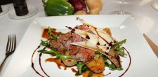 Beef tagliata in shafran parmesan sauce